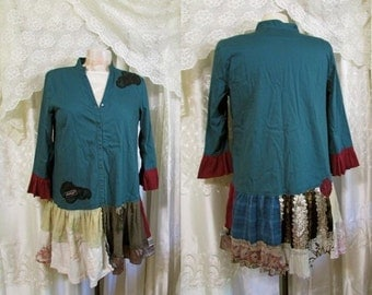 SALE Large Boho Blouse, OOAK patchwork top, upcycled eco friendly altered and recreated blouse womens top