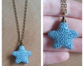 Blue Lava Rock Starfish Necklace