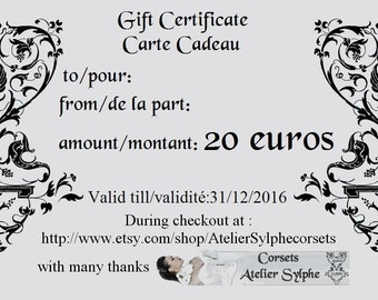 20 euros gift certificate for Atelier Sylphe shop use only