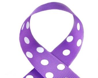 Grape Polka Dots 3/8 inch Polka Dot Grosgrain Ribbon - Purple Polka Dot Ribbon, Polka Dot Hair Bow, Polka Dot Bow, Ribbon By The Yard
