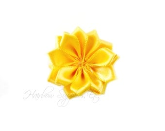 Yellow Dainty Star Flowers 1-1/2 inch - Yellow Fabric Flowers, Yellow Silk Flowers, Yellow Hair Flowers, Yellow Flowers for Hair