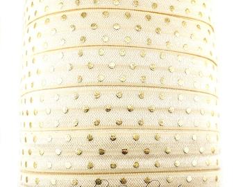 Gold Polka Dot Fold Over Elastic - Fold Over Elastic, Hair Elastic Bracelet, Elastic, Hair Elastic Ties, Elastic Ribbon, Elastic Hair Bands