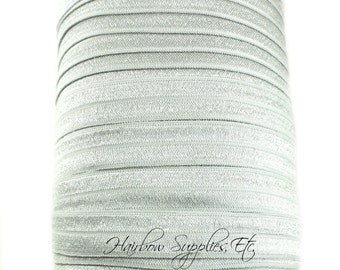 Shell Gray Fold Over Elastic  - Choose 1, 5, or 10 yd 5/8 inch FOE - Hair Ties Hairbow Supplies, Etc.