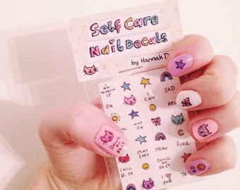 Self Care Nail Decals by Hannah Daisy