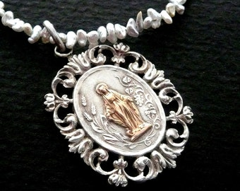Blessed Virgin Mary Necklace with Japanese Keshi Pearls
