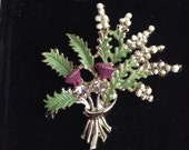 Vintage EXQUISITE Enamel Scottish Lucky Heather Thistle Brooch
