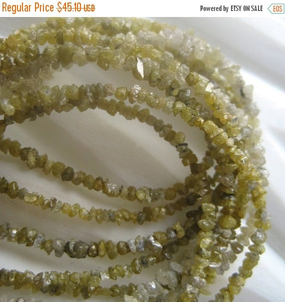 50% ON SALE Rough Diamonds - Yellow Natural Rough Diamond Uncut Beads - 3.5mm To 1.5mm - 8 Inch Half Strand