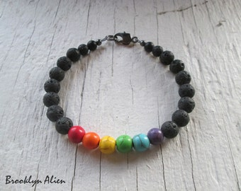 Womens Original Classy Rainbow Pride Jewelry -  8 mm Black Lava Beaded Bracelet - Gay Pride