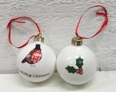 Christmas Welsh red robin lady bone china bauble
