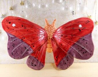 Bug Art Ceramic Moth Wall Hanging