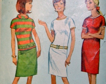 Size 14 Bust 34 Vintage One- or Two-Piece Dress Sewing Pattern Simplicity 6880 Cut and Complete