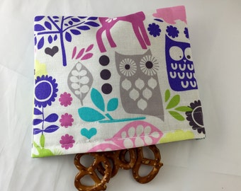 Reusable Snack Bag - Michael Miller Retro   - Ready to Ship Forest Life Orchid - Ready to Ship