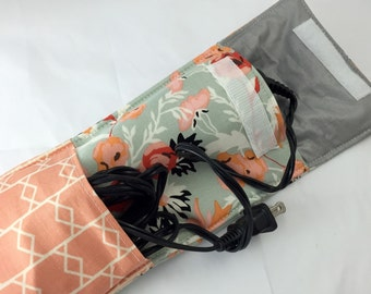 Grey Curling Iron Holder - Curling Iron Case - Flat Iron Holder - Flat Iron Case - Riley Blake Apricot and Persimmon Apricot Main