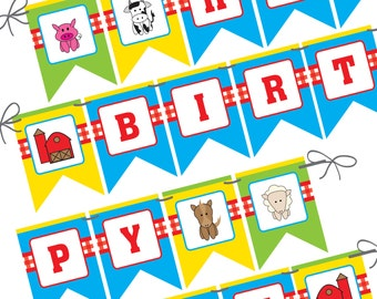 Farm Animal Happy Birthday Pennant Banner, Barn, Cow, Pig, Sheep, Horse, Printed and Ready to Ship