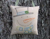 WWOFG, Primitive Snowman Door Hanger, Hand Embroidered Stitchery, Prim snowman decor, happy smiling snowman, Large ornament,  Lime Turquoise
