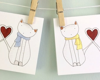 Set of Illustrated Blank Greeting Cards Four Cat Cards Cute Animals Stationary Birthday or Wedding Present or Baby Gift Card Cat Love Cards