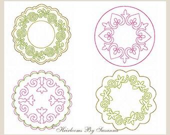Machine Redwork - Round Machine Quilt Motifs - Colorwork - Quilt Embellishment  - Quilt Embroidery - 4 Designs - 3 Sizes - ROUND SET - No.2