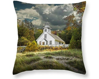 Throw Pillow with Old Mission Point Lighthouse in early autumn No.0977 fine art seascape decorative novelty pillow Home Décor cushion cover