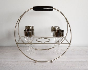 Vintage Barware Set, Silver Ombre Glasses, Cordial Wine Glass, Mad Men Mid Century Bar Cocktail Caddy, 1960s