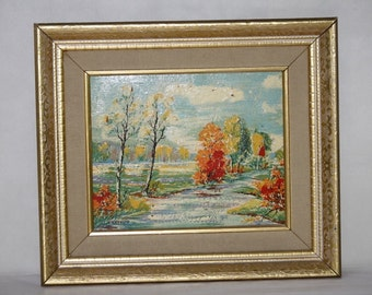 Fall Landscape Oil Painting Orange Red Yellow Trees River Impressionist Blue Sky