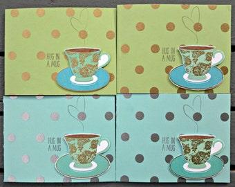 Hug in a Mug Coffee or Tea Handmade Cards, Set of 4