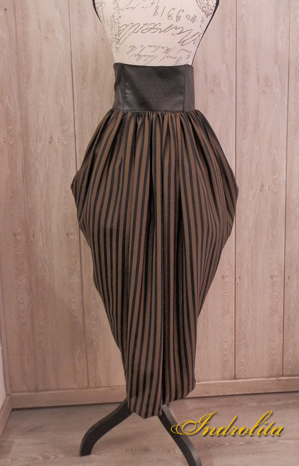 Steampunk Lolita Long skirt - black and brown strippes