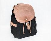 L.L.Bean black woven canvas wool back pack - shoulder satchel - LLBean brown leather trim bag