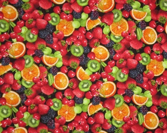 Fresh and Colorful Mixed Fruit Print Pure Cotton Fabric--One Yard