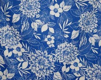 Cobalt Blue and White Cheerful Floral Print Stretch Cotton Sateen Fabric--By the Yard