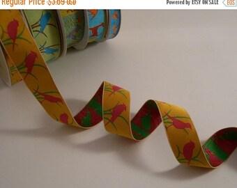 ON SALE Fuchsia and Orange Bird Design Polyester Jacquard Ribbon--One Yard