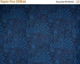 ON SALE Deep Indigo Blue Vibe Patchwork Print Pure Cotton Fabric--One Yard