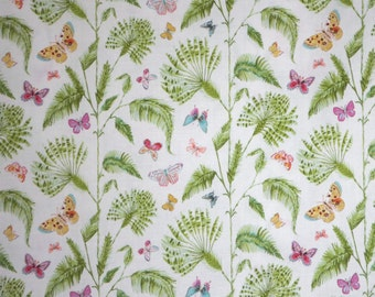 Sweet Butterfly Palms Tropical Print Pure Cotton Fabric--By the Yard