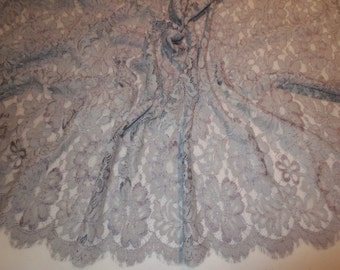 Elegant Medium Gray Floral Design Leavers Chantilly Lace Fabric--By the Yard