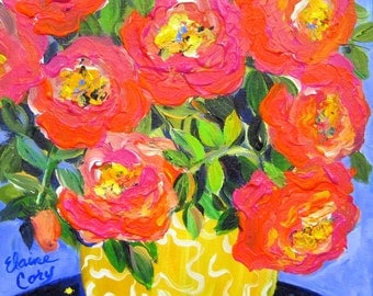 Orange Pink Roses Original Painting 11 x 14 canvas art by Elaine Cory