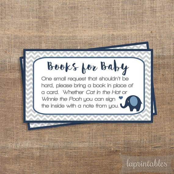 Navy Elephant Baby Shower Book Request Printable By Laprintables