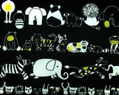 "African animals - 1 yard - 3 colors - cotton linen -kawaii,fabric,lion,cat,Elephant,giraffe - Check out with code ""5YEAR"" to save 20% off"