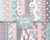 Teal and Orchid Digital Scrapbook Paper  - Touch Up