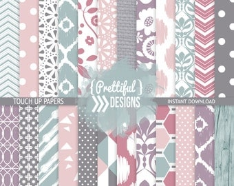 Commercial Use Teal and Orchid Digital Scrapbook Paper  - Touch Up