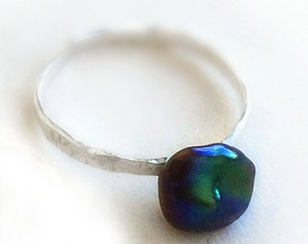 Pirate Heart Black Baroque Pearl Stacking Ring Sterling Silver