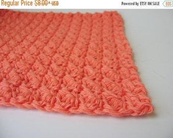 Crocheted Wash Cloth, Face Cloth, Dish Cloth, Cantaloupe Orange Cotton