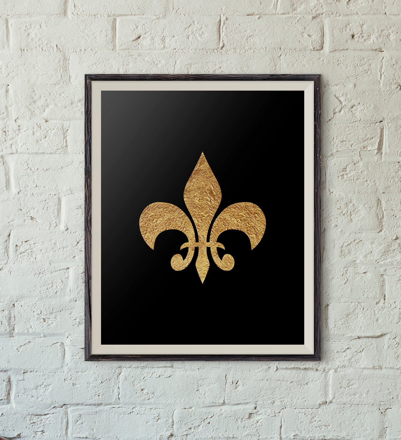 Wall Art Decor Gold : Printable wall art black and gold fleur de lis by