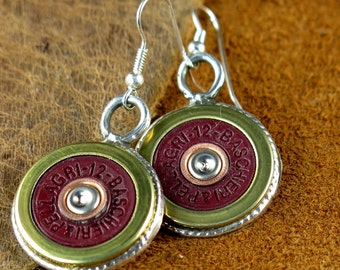 Shotgun Shell and Sterling Silver Earrings - Free Domestic Shipping to US