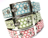 ON SALE Dog Collar w/ Metal Buckle- Classic Dots in Pink, Blue, or Green