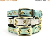 ON SALE Gold Arrow, Tribal, or Triangle Print Dog Collar with Metal Buckle