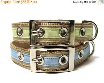 BIG SALE Custom Dog Collar- Chloe's Classic Pastels in Blue or Green