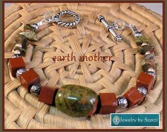 Brown Jasper Green Gemstone Bracelet, Her Stone Bracelet, Unakite, Jasper, Olive Green Reddish Brown, Her Brown Bracelet, Statement Bracelet