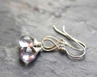 Pink Amethyst Earrings Teardrop Earrings Sterling Silver Petite Pale Pink Gemstone Earrings