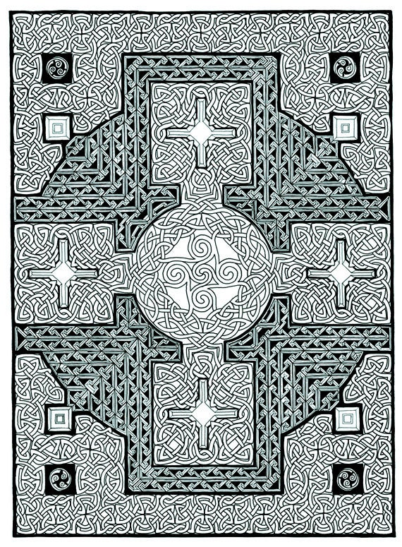 Printable Celtic Cross Coloring Page Pdf Instant Download