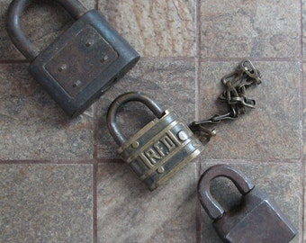 Vintage Padlocks Key Locks Set of 3 Yale Towne RFD PAT 1880 Collectible Altered Art Assemblage Mixed Media Craft Supplies