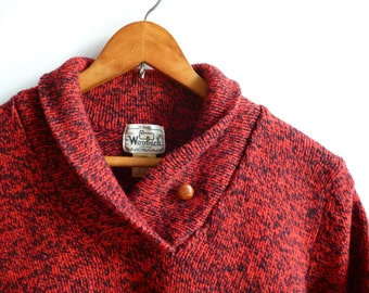 Vintage Woolrich Women's Red Wool Sweater Medium